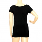 6328 Casual Round Neck Women's Cotton + Spandex T-shirt - Black (Free Size)