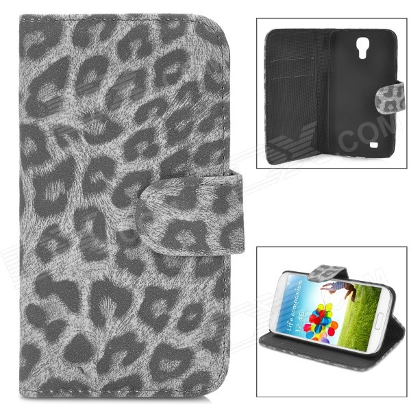 Fashion Leopard Pattern PU Leather Case w/ Card Slot for Samsung Galaxy S4 i9500 - Black + Grey leopard print pattern protective plastic case w tail for samsung galaxy s4 i9500 black yellow