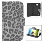 Fashion Leopard Pattern PU Leather Case w/ Card Slot for Samsung Galaxy S4 i9500 - Black + Grey