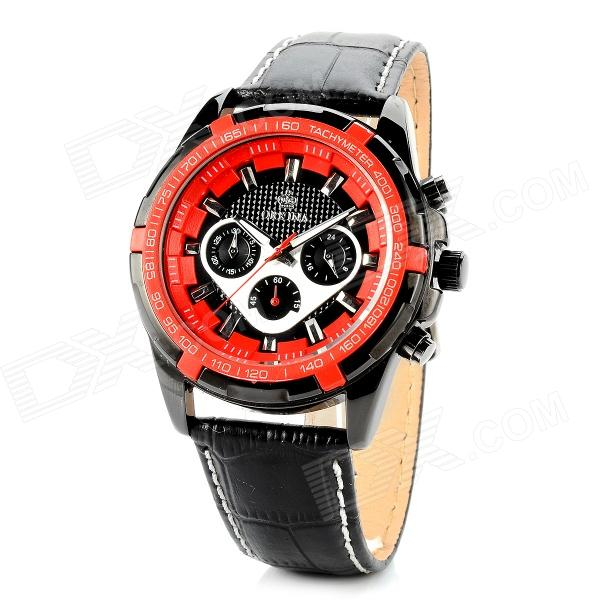ORKINA P0026110 Stainless Steel Leather Band Men's Quartz Analog Wrist Watch - Red + Black orkina round genuine leather band analog quartz wrist watch for men brown
