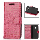 Crocodile Skin Style Protective PU Leather Case for HTC One M7 - Deep Pink