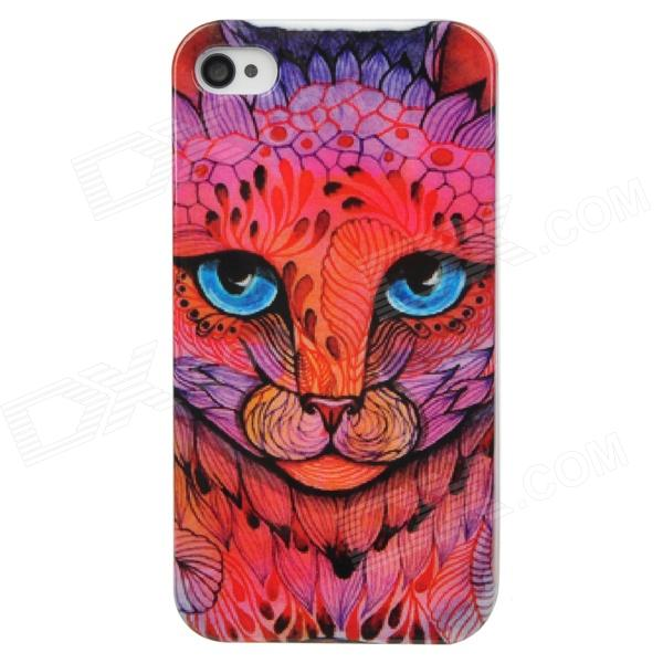 Protective Leopard Plastic Back Case for Iphone 4 / 4S - Pink stylish bubble pattern protective silicone abs back case front frame case for iphone 4 4s