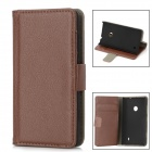 Lychee Pattern Protective PU Leather Case for Nokia Lumia 520 - Brown
