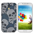 Protective Skull Head Hard Back Cover Case for Samsung Galaxy S4 i9500 - White + Black + Blue