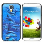 Dynamic 3D Dolphin Pattern Protective Back Case for Samsung Glaxy S4 i9500 - Blue + Black