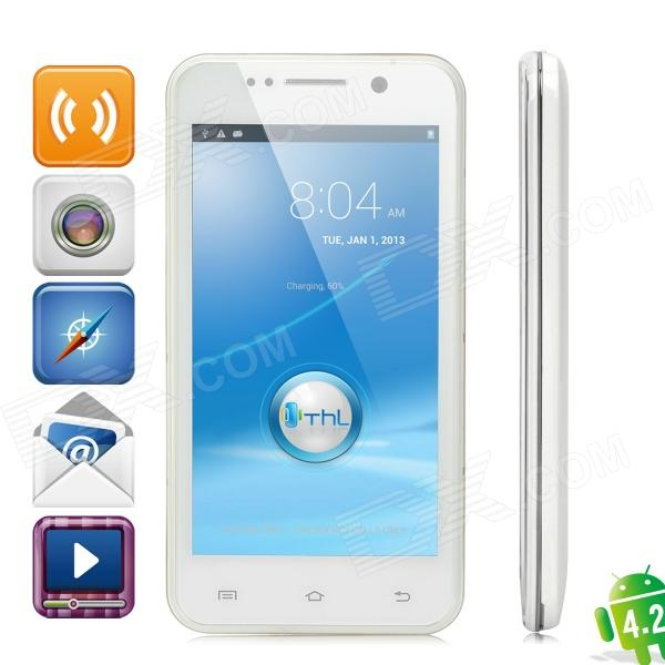 "THL W100 Android 4.2 Quad-Core WCDMA Bar Phone w/ 4.5"" Capacitive Screen, Wi-Fi and GPS - White"