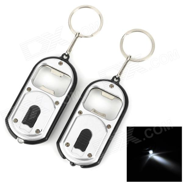 KPQ-23 Bottle Opener + White Light LED Flashlight w/ Keychain - SIlver + Black (2 PCS) apes love gadgets slm 2 antique key style beer bottle opener black dark grey