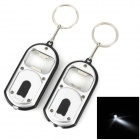 KPQ-23 Bottle Opener + White Light LED Flashlight w/ Keychain - SIlver + Black (2 PCS)