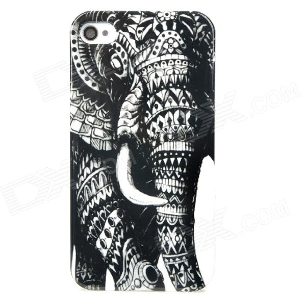 Elephant Pattern Protective Plastic Case for Iphone 4 / 4S - Black + White statue of liberty pattern protective plastic case for iphone 4 4s blue white