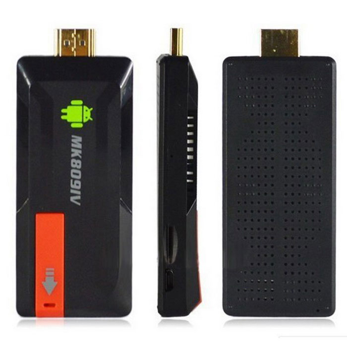 Quad-Core Android Google TV Player w/2GB RAM, 8GB ROMSmart TV Players<br>ModelMK809Quantity1MaterialPlasticForm  ColorBlackOperating SystemNo,Others,Android 4.2,-ChipsetRK3188CPUOthersProcessor Frequency1.6GHzGPUMaliMenu LanguageEnglish,French,German,Italian,Spanish,Portuguese,Russian,Vietnamese,Dutch,Arabic,Japanese,Korean,Thai,Hungarian,Malay,Chinese Simplified,Chinese Traditional,HebrewRAM/Memory TypeOthersBuilt-in Memory / RAMNoStorageNoMax Extended Capacity32GBSupports Card TypeTF,OthersExternal HDDSupportsWi-FiIEEEBluetooth VersionOthers3G FunctionYes,Others3G Frequency RangeOthersWireless Keyboard/Mouse2.4GHzAudio FormatsMP3,WMA,APE,FLAC,OGG,AC3,AAC,OthersVideo FormatsRM,RMVB,AVI,MKV,MP4,FLV,H.264,WMV,OthersAudio CodecsAC3,FLAC,OthersVideo CodecsH.264,VC-1,OthersPicture FormatsJPEG,BMP,PNG,GIF,OthersSubtitle FormatsSubRip [.srt],OthersOutput Resolution1080P3D???????HDMIHDMIAudio OutputHDMIVideo OutputHDMIUSBUSB 2.0,Micro USBOther Interface2Power AdapterEU PlugPower SupplyEUPacking List1 x Mini PC 1 x HDMI cable (22cm)1 x USB cable (74cm)1 x AC power adapter 1 x English user manual<br>