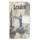 Protective Tower Bridge Pattern PU Leather Flip Open Case for Iphone 4S - White + Black