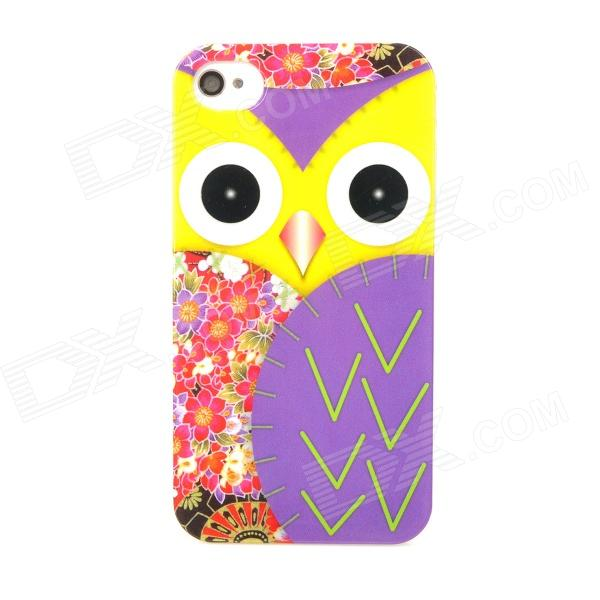 Protective Owl Pattern Plastic BACK Case for  Iphone4 / 4S - Multi-color iris pattern protective plastic back case for iphone 4 4s white