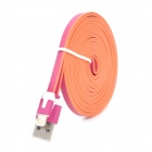 USB 2.0 Male to Lighting 8-Pin Male Flat Data CharginFlat Cable for iPhone 5 / Mini iPad - Deep Pink