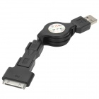 3-in-1 USB Male to 30 Pin + Mini USB + Micro USB Male Extension Data Cable - Black (80 CM)
