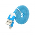 USB Male to Lightning 8-Pin Male Noctilucent Data Flat Cable for iPhone 5 / iPad 4 - Light Blue