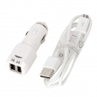 Car Cigarette Powered Charger w/ Dual USB Output + Data / Charging Cable for Samsung / HTC - White