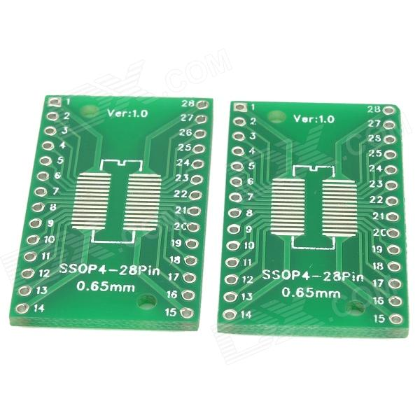 V115 Dual-Side SSOP28 / TSSOP28 / SOP28 SMD to DIP28 Adapter Boards - Green (2 PCS)