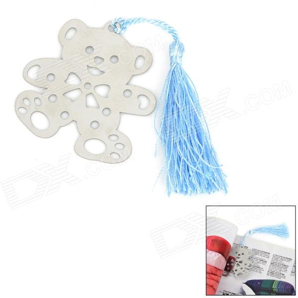 Mini Cartoon Bear Bookmark w/ Tassel - Silver + Blue full page bookmark magnifier