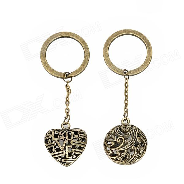 Retro Zinc Alloy Skeleton Ball + Heart Style Key Rings - Bronze (2 PCS) claw of dragon style rings golden bronze 3 pcs