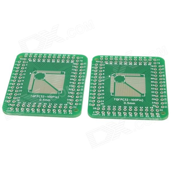 Multi-Function V116 LQFP / TQFP32 / 44 / 48 / 64 / 80 / 100PIN to DIP Adapter Boards - Green (2 PCS) tms320f28335 tms320f28335ptpq lqfp 176