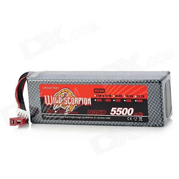 WILD SCORPION 11.1V 30C 5500mAh Li-ion Polymer Battery for R/C / Model Car - Black + Silvery Grey replacement 18650 7 4v 800mah 15c li ion battery pack for r c car