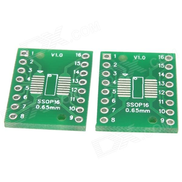 V117 Dual-Side SSOP16 / TSSOP16 / SOP16 SMD to DIP Adapter Boards Set - Green (2 PCS)