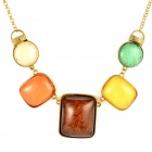 Exaggerated Gold-plated Crystal Pendent Necklace for Women - Golden + Multicolored