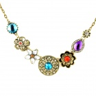 Skeleton Flower Style Zinc Alloy + Crystals Pendant Necklace for Women - Bronze