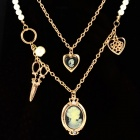 Heart Shaped Pearl Chain Zinc Alloy Scissors + Beauty Head Pendant Necklace - Golden + White + Black