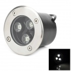 3W 3-LED 270lm 6500K White Light IP66 Underground Lamp - Silver + Black (AC 220V)