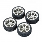 SIXXY BIKE 6-Spoke Wheel Hub Rim + Tyre for 1/10 R/C Model Car - Black + Silver (4 PCS)