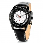 ORKINA P0026110 Stainless Steel Leather Band Men's Quartz Analog Wrist Watch - Black + White