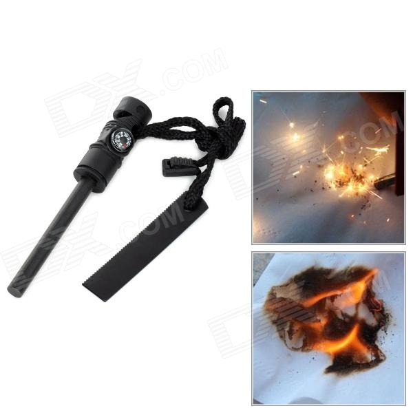 4-in-1 Outdoor Camping Magnesium Stick Fire Starter Flintstone + Whistle + Saw + Compass - Black