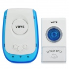V009A Universal 220V Wireless 2-Flat-Pin Plug Door Bell Receiver + Controller Set - White + Blue