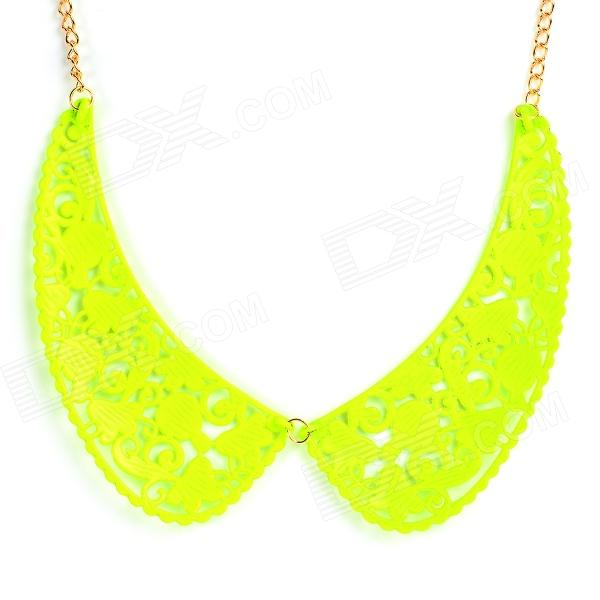 Skeleton Carved Bronze Alloy Decorative Collar - Fluorescent Green + Golden