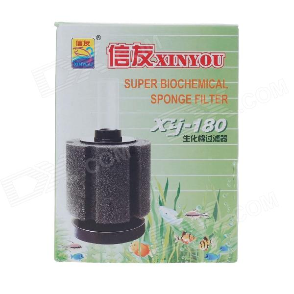 XINYOU XJ-180 180L Fish Tank Super Aquarium Biochemical Sponge Filter - Black + White