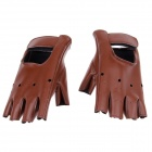 Cool Protective PU Half-Finger Gloves - Brown (Size L / Pair)