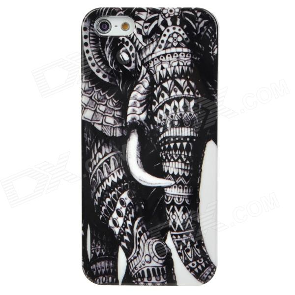 Elephant Style Protective Plastic Back Case for Iphone 5 - Black + White 2017 new elegant handbag for women high quality split leather female tote bags stylish red black gray ladies messenger bag