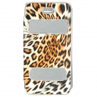 Fashion Leopard Pattern Protective PVC Case w/ Stand for Iphone 5 - Leopard + Silver