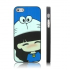 ENKAY Happy Girl Pattern Protective Plastic Case for Iphone 5 - Black + Blue + White