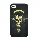 Cool Two Guns + Skull Pattern Protective Plastic Case for Iphone 4S - Black + Yellow