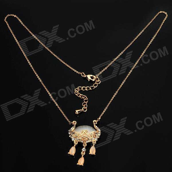Zinc Alloy Chain Cat's Eye + Rhinestone Pendant Necklace for Women - Golden 40cm 12w acryl aluminum led wall lamp mirror light for bathroom aisle living room waterproof anti fog mirror lamps 2131