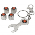 """R"" Pattern Stainless Steel Car Tire Valve Caps + Wrench Keychain Set - Black + Silver"