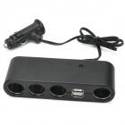 Dual-USB 1-to-4 Car Cigarette Lighter Power Socket - Black