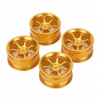 7-Spoke Aluminum Alloy Wheel Hub for 1/10 R/C Car - Golden Yellow ( 4 PCS)