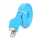 3-in-1 USB to 8pin Lightning / 30pin / Micro USB Data Charging Cable for iPhone 5 - Blue (100cm)