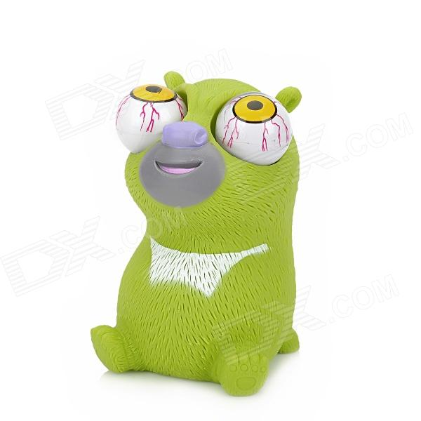 Cute Funny Bear Style Rolling Eyeballs Pop-out Plastic Stress Reliever Toy - Green + White