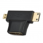 3-in-1 HDMI Female to Mini HDMI Male + Micro HDMI Male Adapter - Black