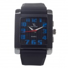 Super Speed V0124 Men's Square Dial Wide Band Quartz Wrist Watch - Black + Blue + Red (1 x LR626)