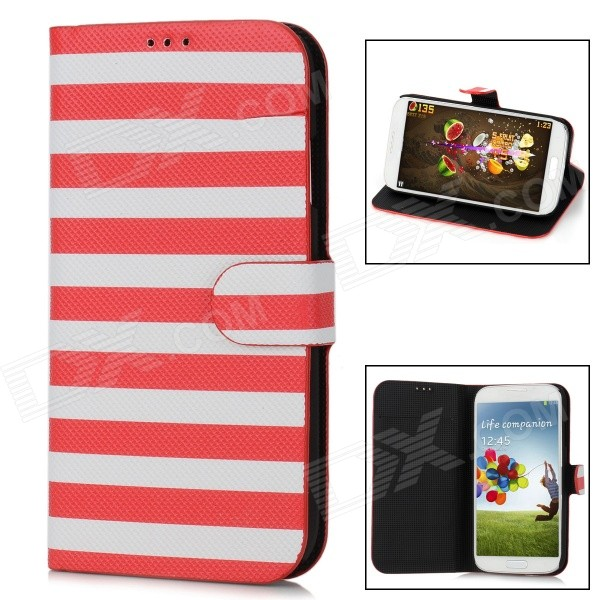 Stripe Style Protective PU Leather Case for Samsung Galaxy S4 i9500 - Red + White стоимость